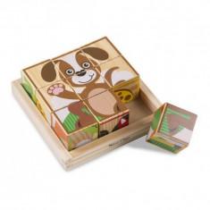 Puzzle animale Primele mele cuburi Melissa & Doug, 20 x 20 x 6 cm, 1 an+