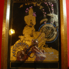 Reproducere pe sticla dupa Pictura de Mucha -Art Nouveau-Reclama Caile Ferate Mo