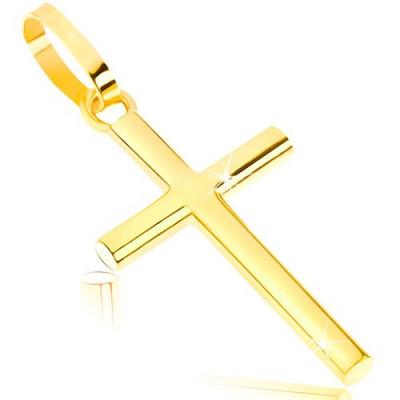 Pandantiv din aur 375 - cruce latină lucioasă cu brațe rotunjite foto