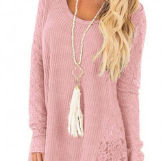 Bluza cu inseratii dantela dama, roz, marimea XL