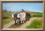 Pictura / Tablou car cu boi semnat Cimpoesu dupa Grigorescu.