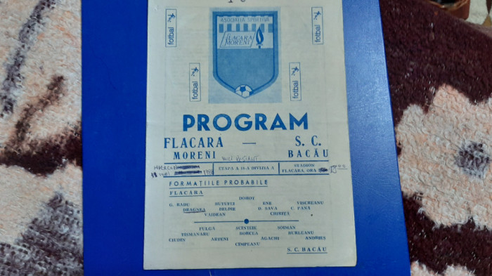 program Flacara Moreni - SC Bacau