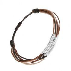 Brățară cu șnururi negre, maro, scorțișoară și bej, fâșii din oțel