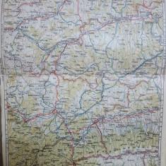Harta Sibiu, Blaj, Sighișoara, Ocna Sibiului, Munții Făgărașului, Călărași, 1927