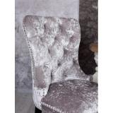 Scaun din lemn masiv negru cu tapiterie din catifea gri deschis SNA516, Scaune, Baroc