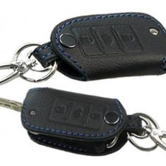 Husa cheie din piele pentru VW Polo Golf Passat Tiguan, Skoda Octavia Fabia, Seat Leon, cusatura neagra, pentru cheie cu 3 butoane