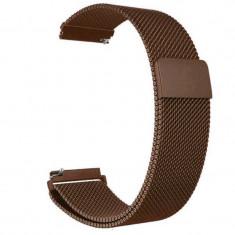 Curea tip Milanese Loop compatibila cu Fitbit Versa, Telescoape QR, 22mm, Coffee