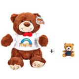 Set Ursulet de Plus Teddy Bear cu Papion, Inaltime 23cm + Breloc pentru chei, lungime 12 cm