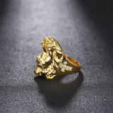 Inel aurit cu tema religioasa IIsus si cruce din cristale