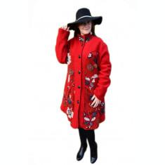 Jacheta moderna de culoare rosie cu imprimeu floal in relief
