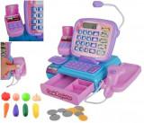 Set Jucarie Copii Casa de Marcat cu Afisaj LCD, scaner, bani,card de plata si legume, roz/violet
