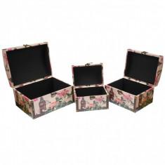 Set 3 casete de bijuterii, din lemn, tip cufar, cu ornament floral - 27453