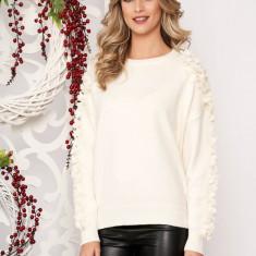 Pulover SunShine ivoire scurt elegant din lana cu croi larg cu aplicatii cu perle si cu maneca lunga