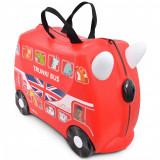 Valiza pentru copii Ride-On Autobuz Boris Trunki, Rosu, 46 cm
