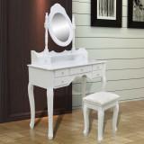 Masă de toaletă cu oglindă și taburet, 7 sertare, alb
