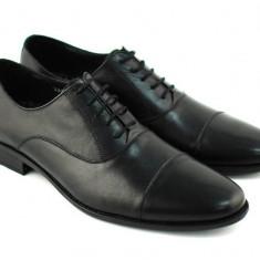 Pantofi barbati negri eleganti din piele naturala - Made in Romania