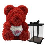 Ursulet din trandafiri, 40 cm, culoarea rosie, decorat manual
