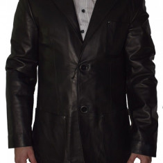 Haina barbati, din piele naturala, Kurban, BLEZER-1, negru