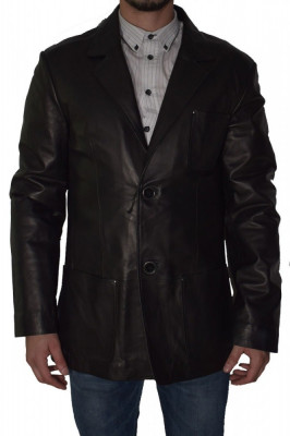 Haina barbati, din piele naturala, Kurban, BLEZER-1, negru foto