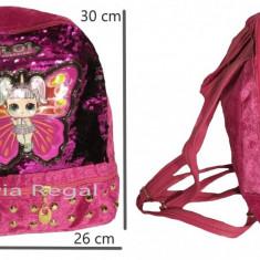 Ghiozdan tip LOL pentru fete, cu paiete revesibile 30 cm x 26 cm , roz, Fata