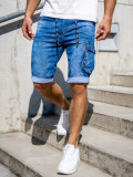 Cumpara ieftin Pantaloni scurți de blugi cargo bleumarin Bolf KR1076
