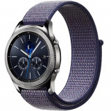 Curea ceas Smartwatch Samsung Gear S3, iUni 22 mm Soft Nylon Sport, Midnight Blue