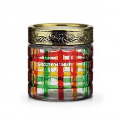 Recipent condimente din sticla pictata cu capac Peterhof PH10024 850ml