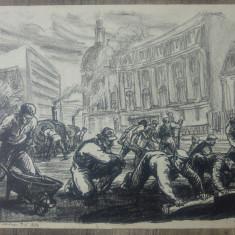 Muncitori la Piata Romana// litografie Marcel Chirnoaga, serie mica