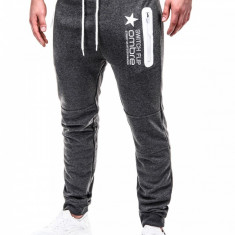 Pantaloni pentru barbati de trening gri inchis fermoare banda jos cu siret bumbac p420