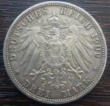 (A752) MONEDA DIN ARGINT GERMANIA, PRUSIA - 3 MARK 1909, LIT. A, WILHELM II, Europa