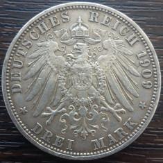 (A752) MONEDA DIN ARGINT GERMANIA, PRUSIA - 3 MARK 1909, LIT. A, WILHELM II