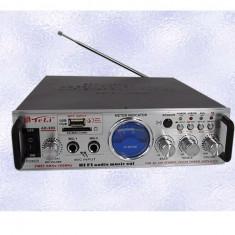 Amplificator Tip Statie Teli AK-905, 2 x 30 W / 8-16 Ohm / USB / SD Card / 2 Intrari Microfon / Telecomanda