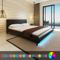 Pat cu LED-uri 160 x 200 cm, piele artificială, negru