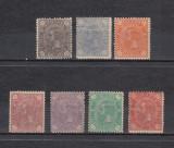 ROMANIA 1890/91 LP 45 CAROL I CIFRA IN 4 COLTURI FILIGRAN STEMA SERIE MNH, Nestampilat