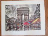 Arc de Triomphe et la rue reprodus, din Franta 45x36,5 … 35x26,5 cm