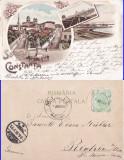 Salutari din Constanta-Piata Ovidiu. Portul-  litografie 1898, Circulata, Printata