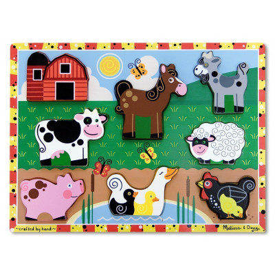Puzzle lemn in relief Animale de ferma Melissa and Doug, 8 bucati foto