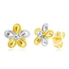 Cercei din aur 585 - floare mică decorată cu diamant