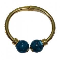 Bratara fashion cu forma fixa, culoare aurie cu perle mari albastre
