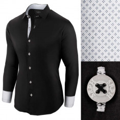 Camasa pentru barbati, neagra, regular fit, bumbac, casual, premium - Business Class Ultra, S, Maneca lunga