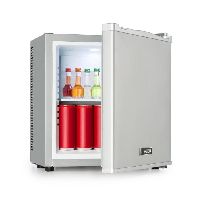 Klarstein Secret Cool, mini frigider, minibar, 13 l, clasa de eficiență energetică A+, 0dB, argintie