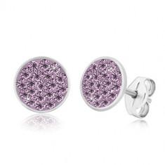 Cercei din argint 925 - cerc strălucitor încrustat cu zirconii violet deschis