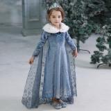 Rochie rochita Elsa Frozen cu blanita 3,4,5 ani, 3-4 ani, Indigo