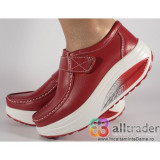 Pantofi rosii piele naturala talpa convexa (cod AC019-32)