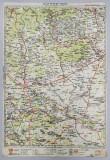HARTA ZONEI PLOIESTI - BUZAU , LITOGRAFIE de M.D. MOLDOVEANU , 1936