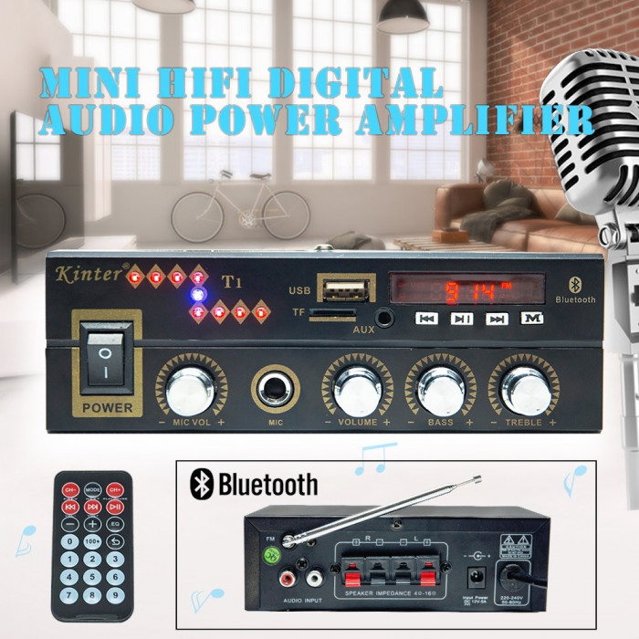 Statie Amplificare Audio 2x25w Intrare Stick USB Card AUX Bluetooth telecomanda