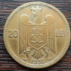 (MR55) MONEDA ROMANIA - 20 LEI 1930, PARIS, REGELE CAROL II