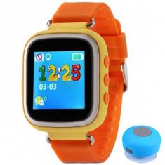 Ceas Smartwatch cu GPS Copii iUni Kid90, Telefon incorporat, Buton SOS, BT, LCD 1.44 Inch, Orange + Boxa Cadou