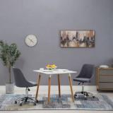 Scaune de masă cu rotile, 2 buc., gri închis, material textil