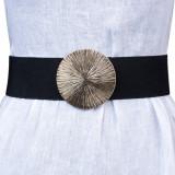 Curea neagra lata de 6 cm, din material elastic cu catarama aurie cu striatii, M, S, Negru